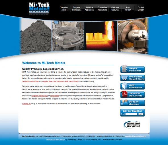 Mi-Tech Metals Web Design