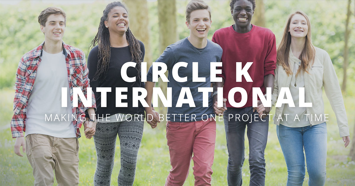 Banner of Circle K International Multi-cultural group of kids holding hands