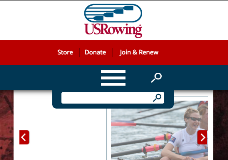 US Rowing Custom web design Search Box feature